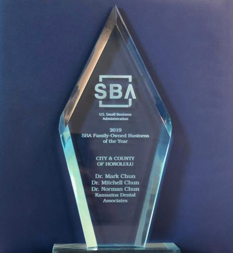 <h3>2019 Small Business Association Award </h3><br>We are proud to announce Kama`aina Dental Associates, Inc. has won the 2019 SBA Family Owned Small Business of the Year Award. We were pleasantly surprised to hear Mr. Jeffery Ventura, Senior Vice President and Area Branch Manager of First Hawaiian Bank had nominated our family owned business for this award. This award is greatly based on our dental practice having serviced families on Windward O`ahu for over 60 years. We are very thankful for this privilege.